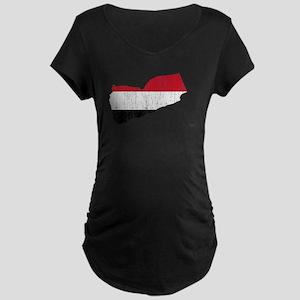 Yemen Flag And Map Maternity Dark T-Shirt