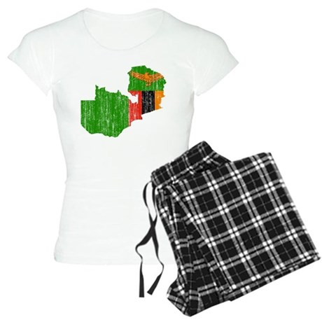 Zambia Flag And Map Women's Light Pajamas