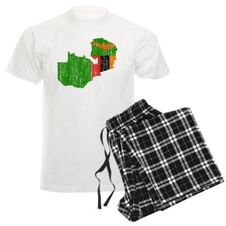 Zambia Flag And Map Men's Light Pajamas