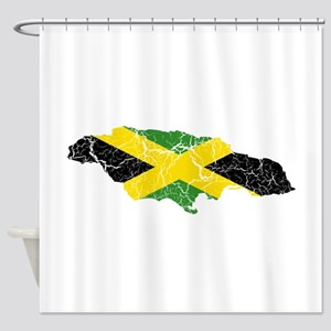 Jamaica Flag And Map Shower Curtain