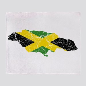 Jamaica Flag And Map Throw Blanket