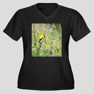 American Goldfinch Women's Plus Size V-Neck Dark T
