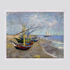 Van Gogh Fishing Boats Throw Blanket