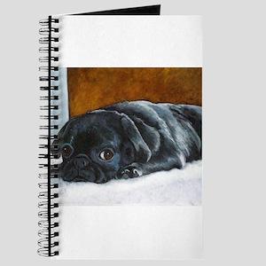 Resting Black Pug Puppy Journal