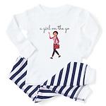A Girl On The Go Baby Pajamas - Blue Stripe