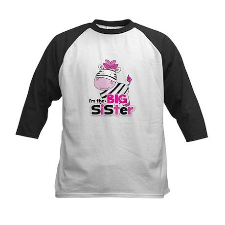 Pink Zebra Big Sister Kids Baseball Jersey