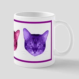 Three Colored Cat Faces Mug