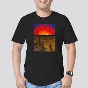 Sunset Coyote Men's Fitted T-Shirt (dark)