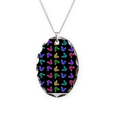 Multi Colored Cat Heads Necklace Oval Charm