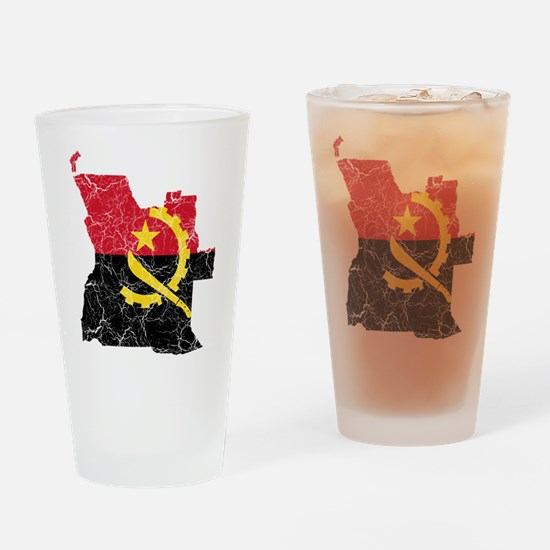 Angola Flag And Map Drinking Glass