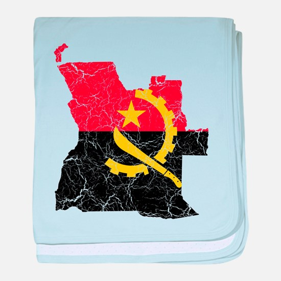 Angola Flag And Map baby blanket