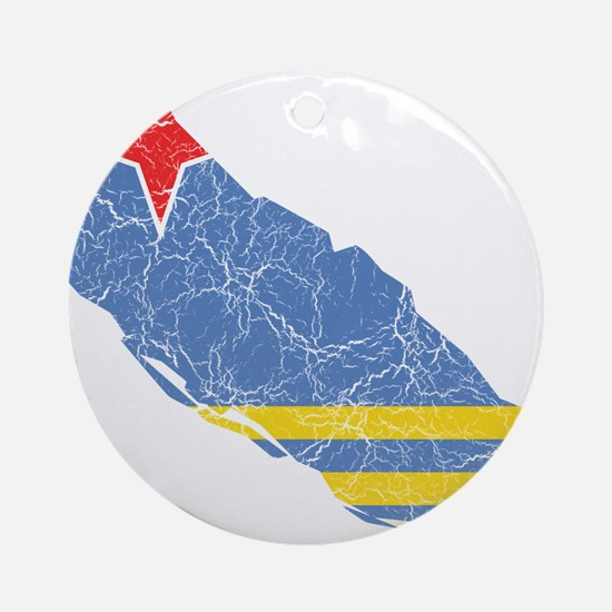 Aruba Flag And Map Ornament (Round)