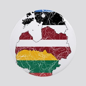 Baltic States Flag And Map Ornament (Round)