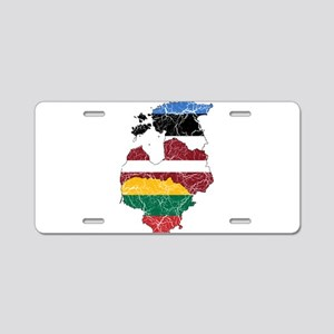 Baltic States Flag And Map Aluminum License Plate