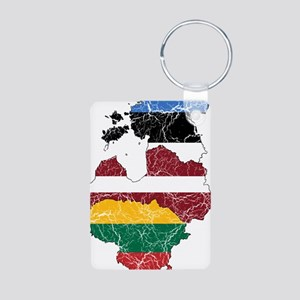 Baltic States Flag And Map Aluminum Photo Keychain
