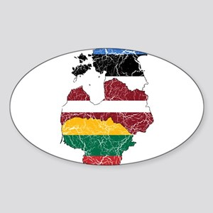 Baltic States Flag And Map Sticker (Oval)