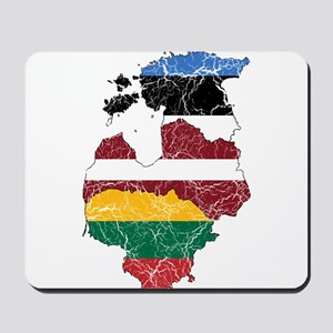 Baltic States Flag And Map Mousepad
