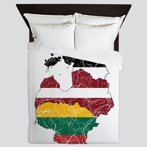 Baltic States Flag And Map Queen Duvet