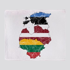 Baltic States Flag And Map Throw Blanket