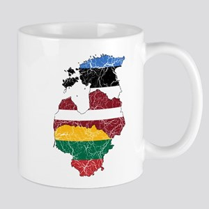 Baltic States Flag And Map Mug