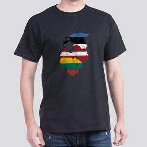 Baltic States Flag And Map Dark T-Shirt