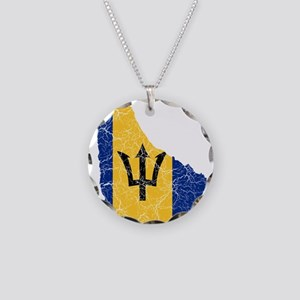 Barbados Flag And Map Necklace Circle Charm