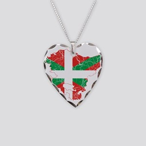 Basque Community Flag And Map Necklace Heart Charm