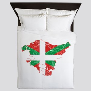Basque Community Flag And Map Queen Duvet