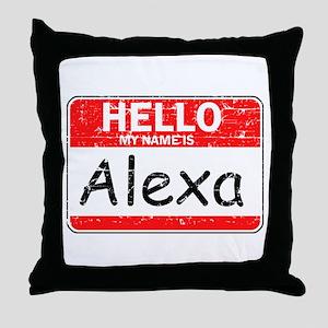 Hello My name is Alexa Throw Pillow