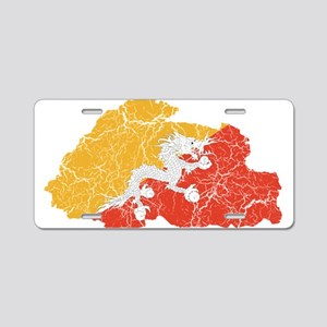 Bhutan Flag And Map Aluminum License Plate