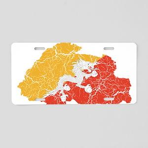 Bhutan Flag And Map Aluminum License Plate