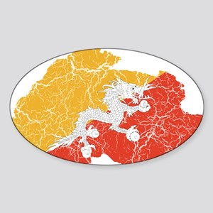 Bhutan Flag And Map Sticker (Oval)