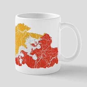 Bhutan Flag And Map Mug