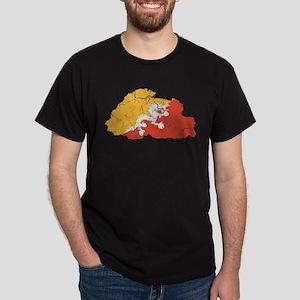 Bhutan Flag And Map Dark T-Shirt