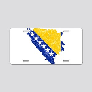 Bosnia And Herzegovina Flag And Map Aluminum Licen