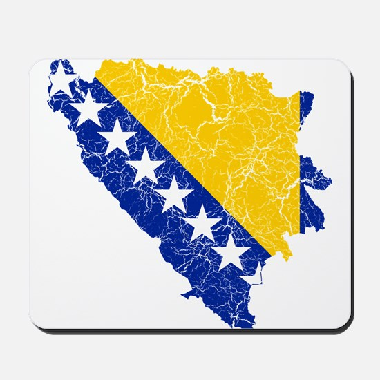 Bosnia And Herzegovina Flag And Map Mousepad