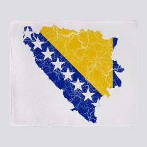 Bosnia And Herzegovina Flag And Map Stadium Blank