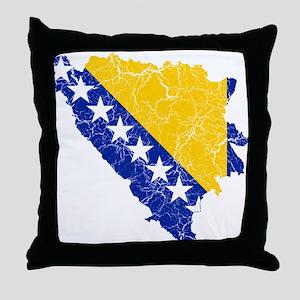 Bosnia And Herzegovina Flag And Map Throw Pillow