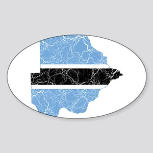 Botswana Flag And Map Sticker (Oval)