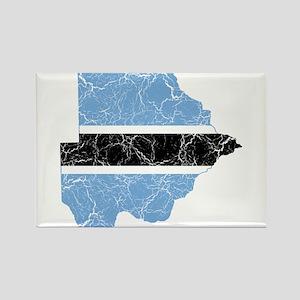 Botswana Flag And Map Rectangle Magnet
