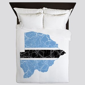 Botswana Flag And Map Queen Duvet
