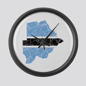 Botswana Flag And Map Large Wall Clock