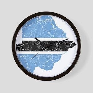 Botswana Flag And Map Wall Clock