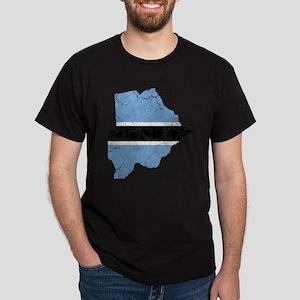 Botswana Flag And Map Dark T-Shirt