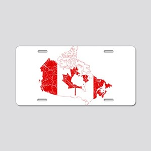 Canada Flag And Map Aluminum License Plate