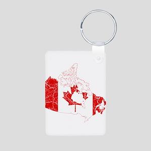 Canada Flag And Map Aluminum Photo Keychain