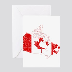 Canada Flag And Map Greeting Card