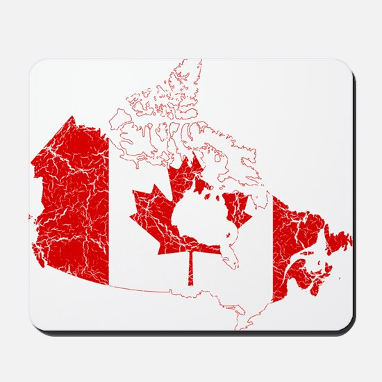 Canada Flag And Map Mousepad