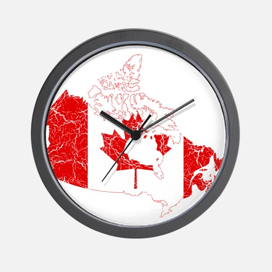 Canada Flag And Map Wall Clock