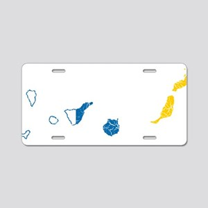 Canary Islands Flag And Map Aluminum License Plate
